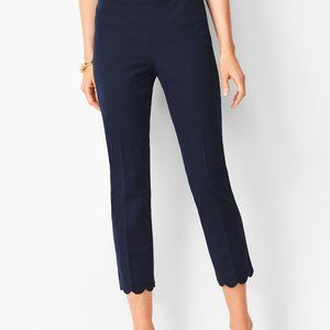 Chatham Navy Blue Crop Pant with Scalloped Edge